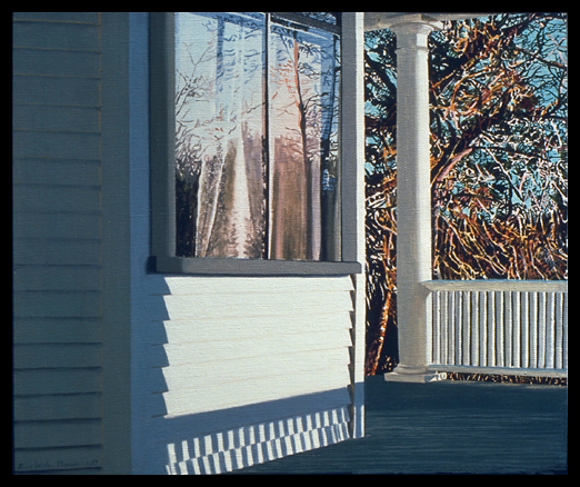 Sherry's Window with Winter Landscape, 1987, Oil on Canvas, 15x18""