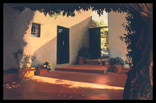 Tuscan Patio, 1994, Pastel on Paper, 38x58""